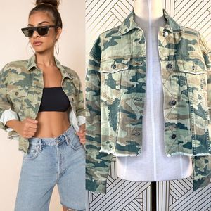 Free People Camo Printed Cropped Denim Jacket